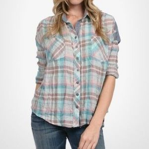 Free People We The Free Mint Combo Button Down NWT